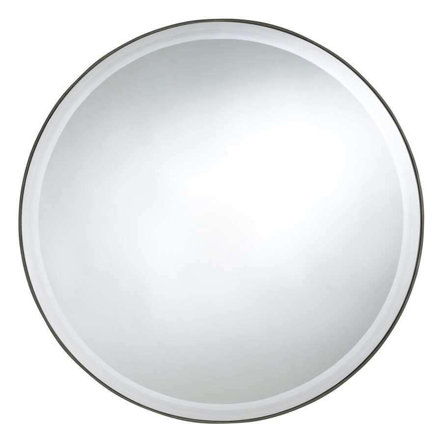 Cooper Classics Seymour 29-in x 29-in Mocha Beveled Round Frameless Transitional Wall Mirror