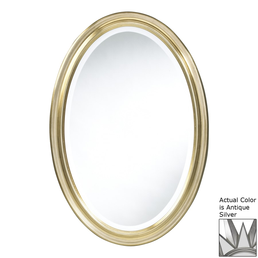Cooper Classics Blake 21.5-in x 31.5-in Antique Silver Beveled Oval Framed Traditional Wall Mirror