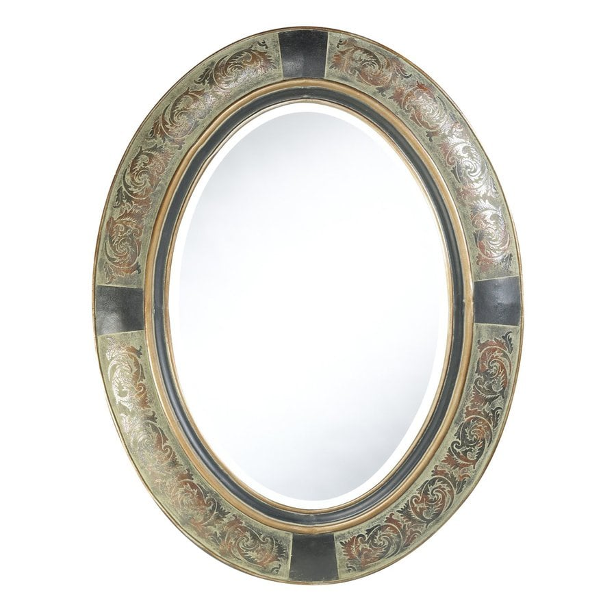 Cooper Classics Sawyer 27-in x 35-in Aged Verdigris Beveled Oval Framed French Wall Mirror