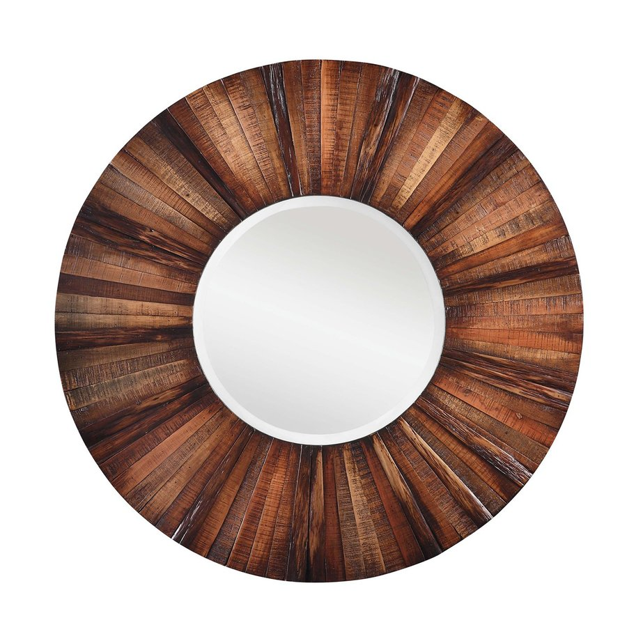Shop cooper classics kona natural rustic wood beveled for Round mirror