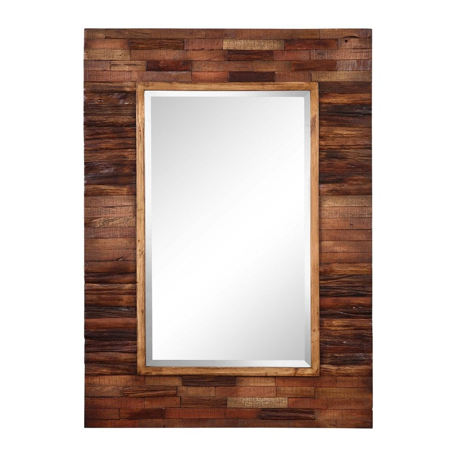 Cooper Classics Blakely 30-in x 42-in Natural Wood Beveled Rectangle Framed Transitional Wall Mirror