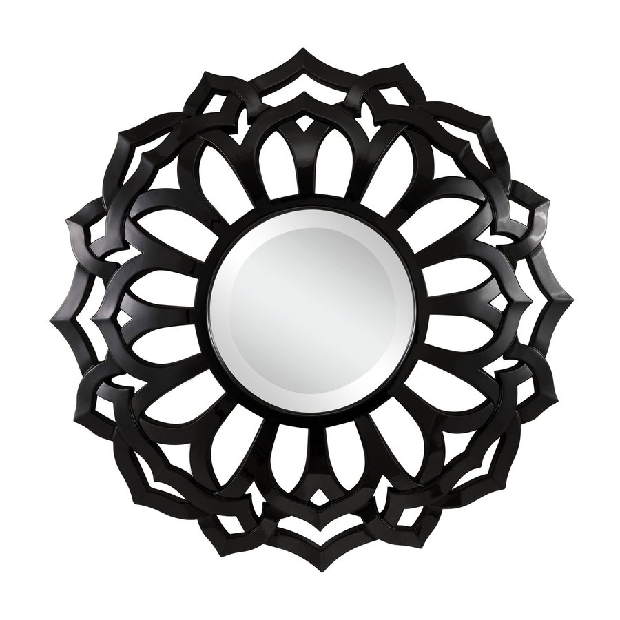 Cooper Classics Covington 32-in x 32-in Glossy Black Beveled Round Framed Transitional Wall Mirror