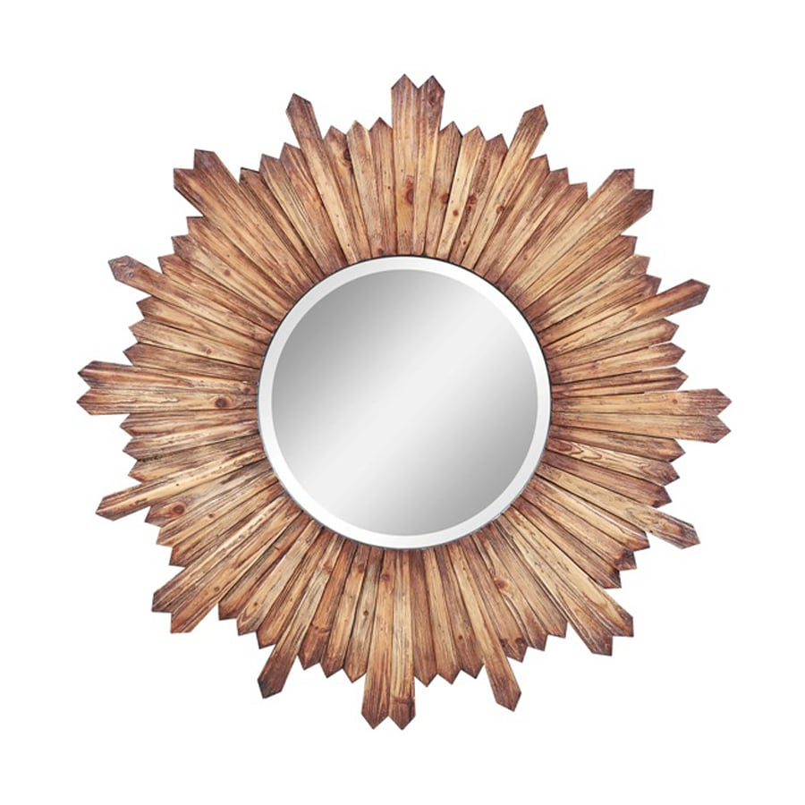 Cooper Classics Catherine Natural Rustic Beveled Round Wall Mirror
