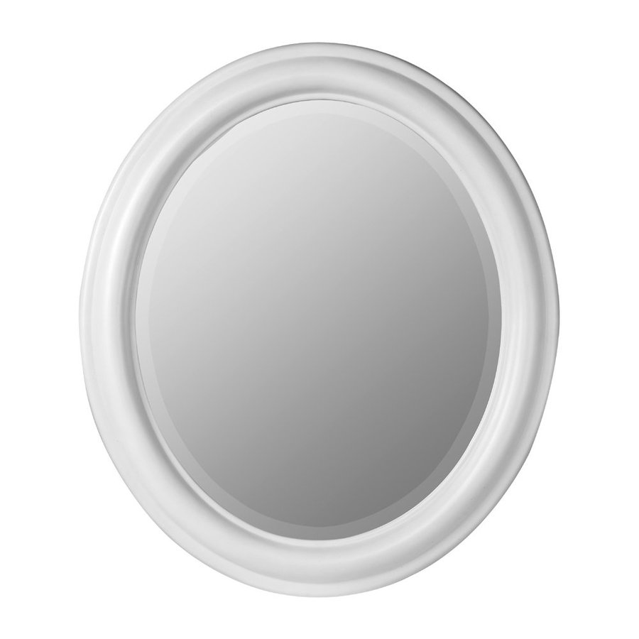 Cooper Classics Addision 26-in x 30-in Chesapeake White Beveled Oval Framed Transitional Wall Mirror