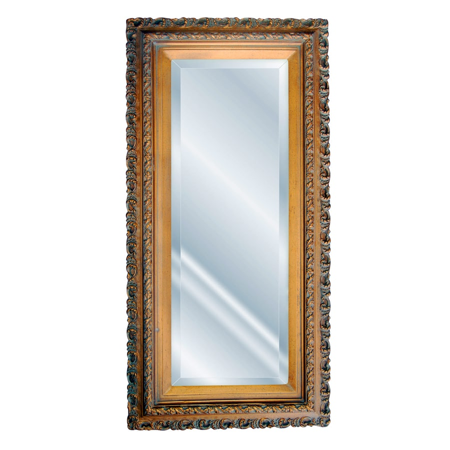 Hickory Manor House Oblong Serpentine 19-in x 37-in Bronze Beveled Rectangle Framed Wall Mirror