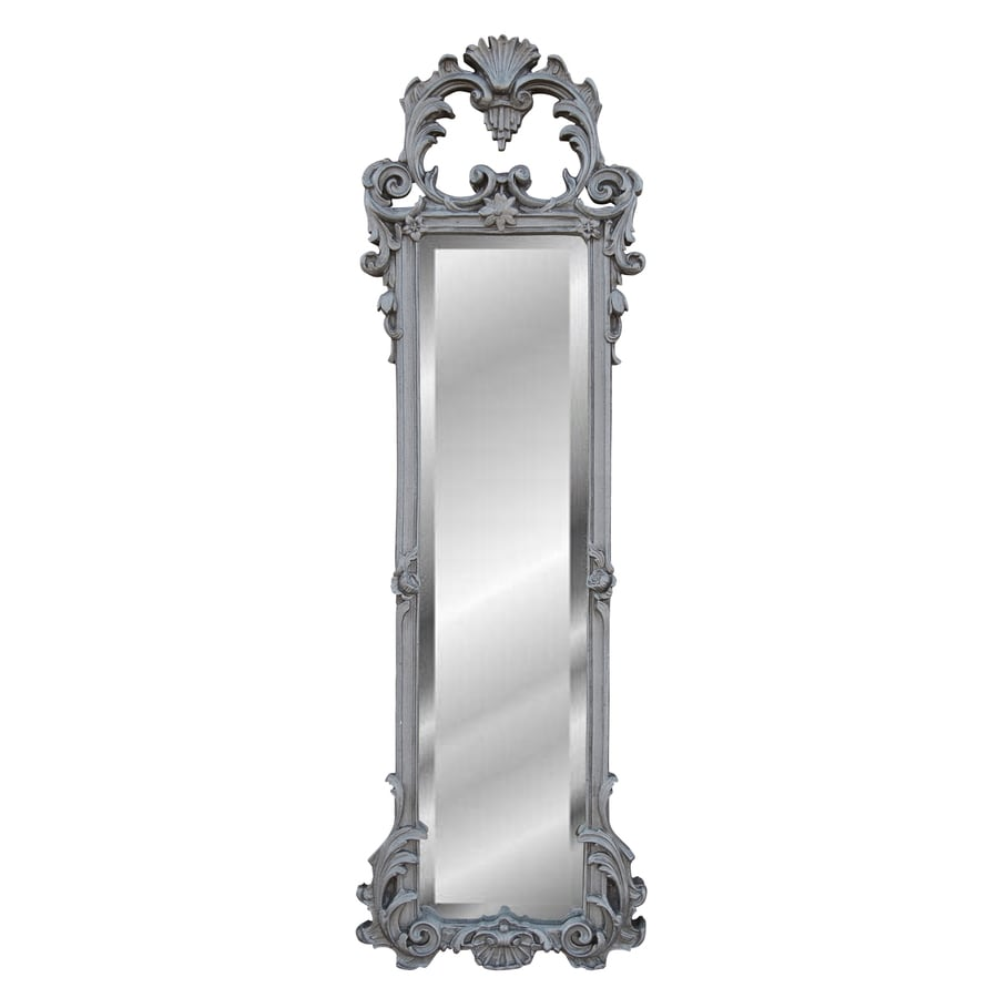 Hickory Manor House Ornate Strip 12-in x 38-in Gilt Silver Beveled Rectangle Framed Wall Mirror