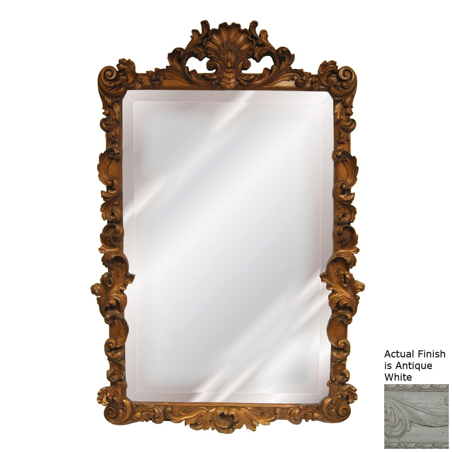 Hickory Manor House Flourishing Antique White Beveled Wall Mirror