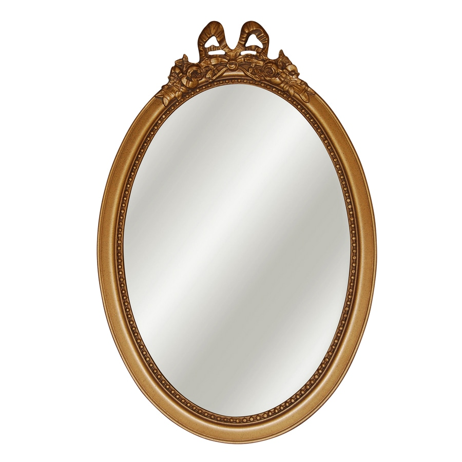 Shop hickory manor house bow antique gold beveled oval for Antique wall mirrors