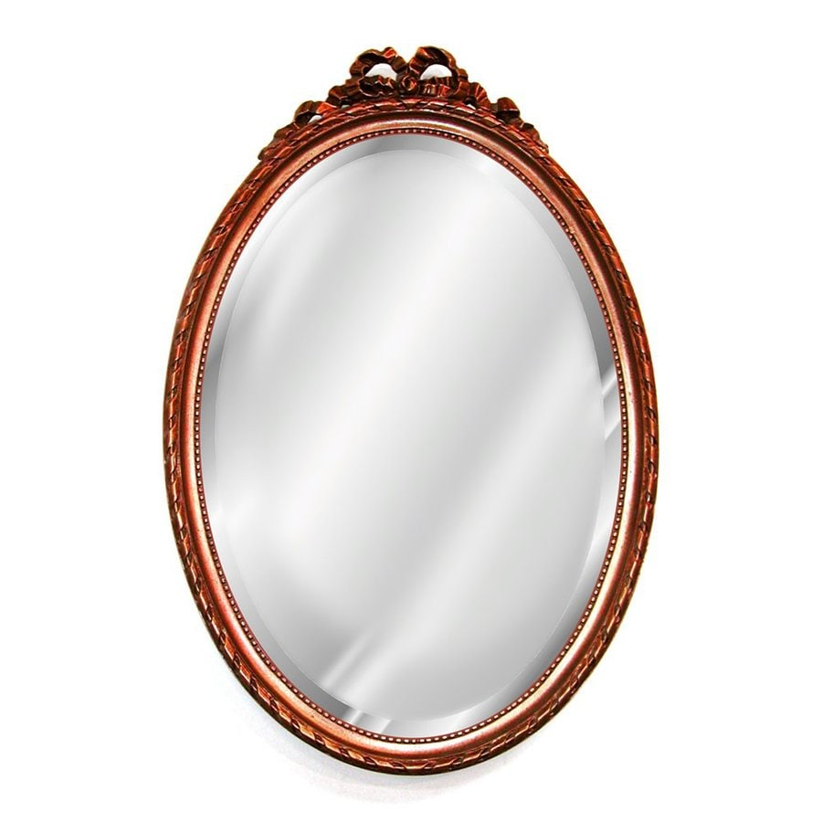 Hickory Manor House Bow 18-in x 27-in Bronze Beveled Oval Framed Wall Mirror