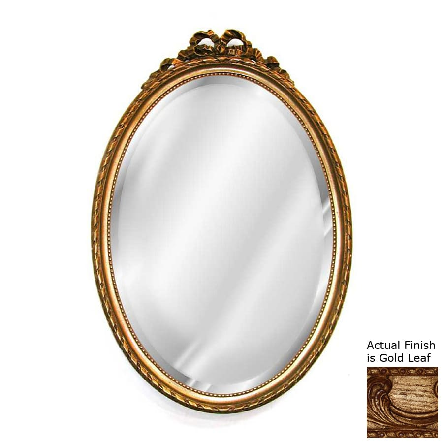 Hickory Manor House Bow 18-in x 27-in Gold Leaf Beveled Oval Framed Wall Mirror