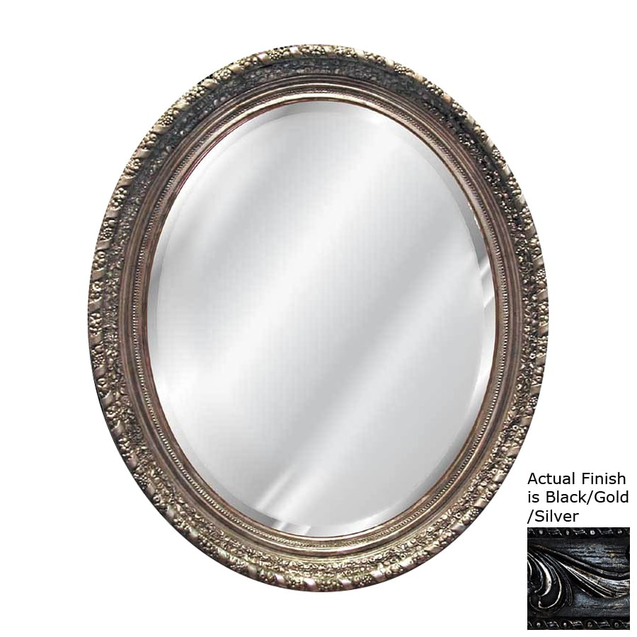 Shop hickory manor house ornate blackgoldsilver beveled oval hickory manor house ornate blackgoldsilver beveled oval wall mirror amipublicfo Choice Image