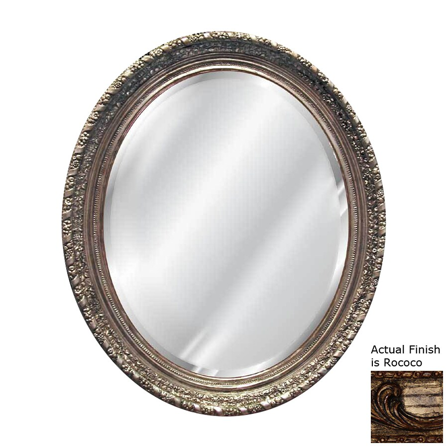 Hickory Manor House Ornate 36-in x 46-in Rococo Beveled Oval Framed Wall Mirror