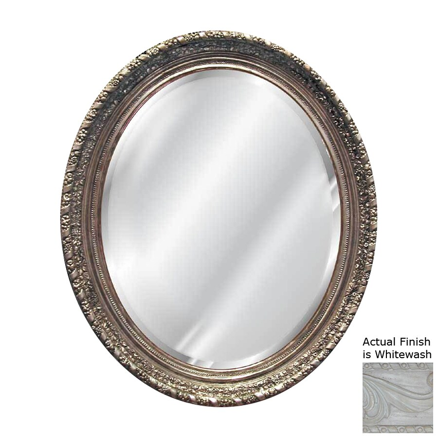Hickory Manor House Ornate 36-in x 46-in Whitewash Beveled Oval Framed Wall Mirror