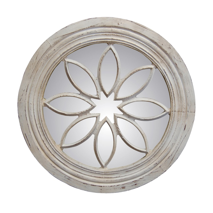 Hickory Manor House Petal Circle Old World White Polished Round Wall Mirror