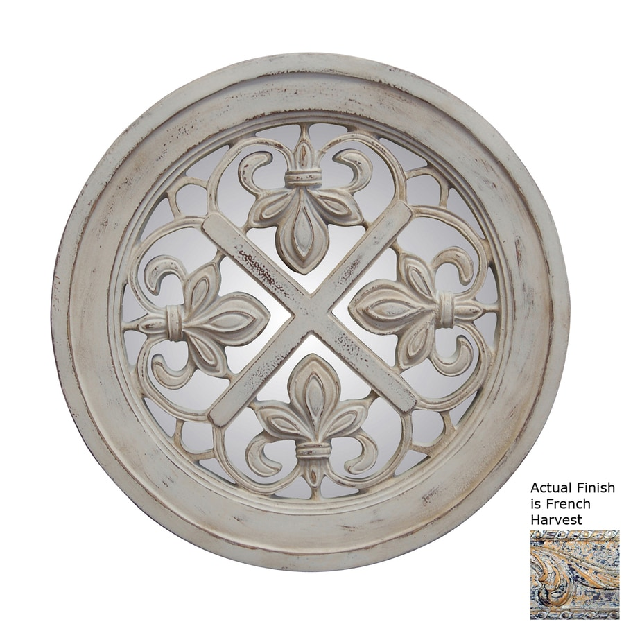 Hickory Manor House Fleur-De-Lis French Harvest Polished Round Wall Mirror