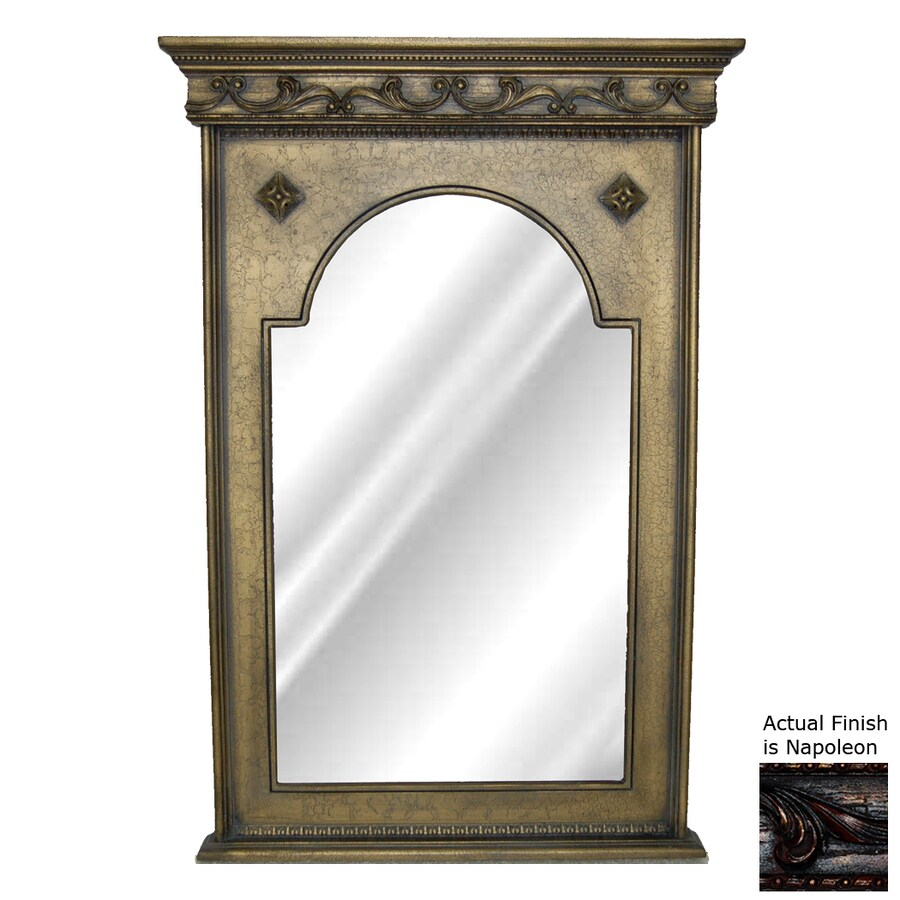 Hickory Manor House Crested 23.5-in x 43.5-in Napoleon Polished Arch Framed Wall Mirror