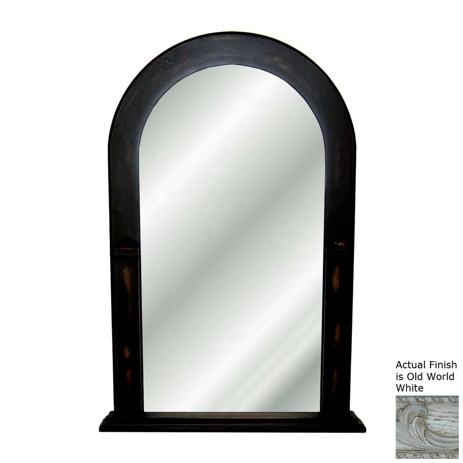 Hickory Manor House 24-in x 38.5-in Old World White Polished Arch Framed Wall Mirror