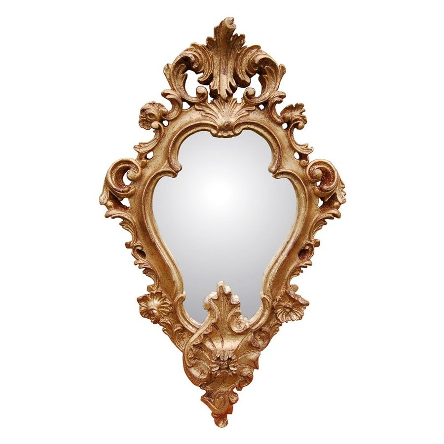 Hickory Manor House Regence 13-in x 22-in Gold Leaf Polished Diamond Framed Wall Mirror