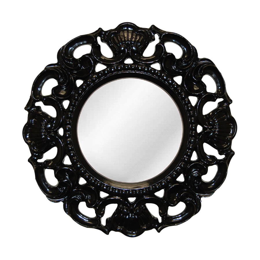 Hickory Manor House Clarity 24-in x 24-in Gloss Black Polished Round Framed Wall Mirror