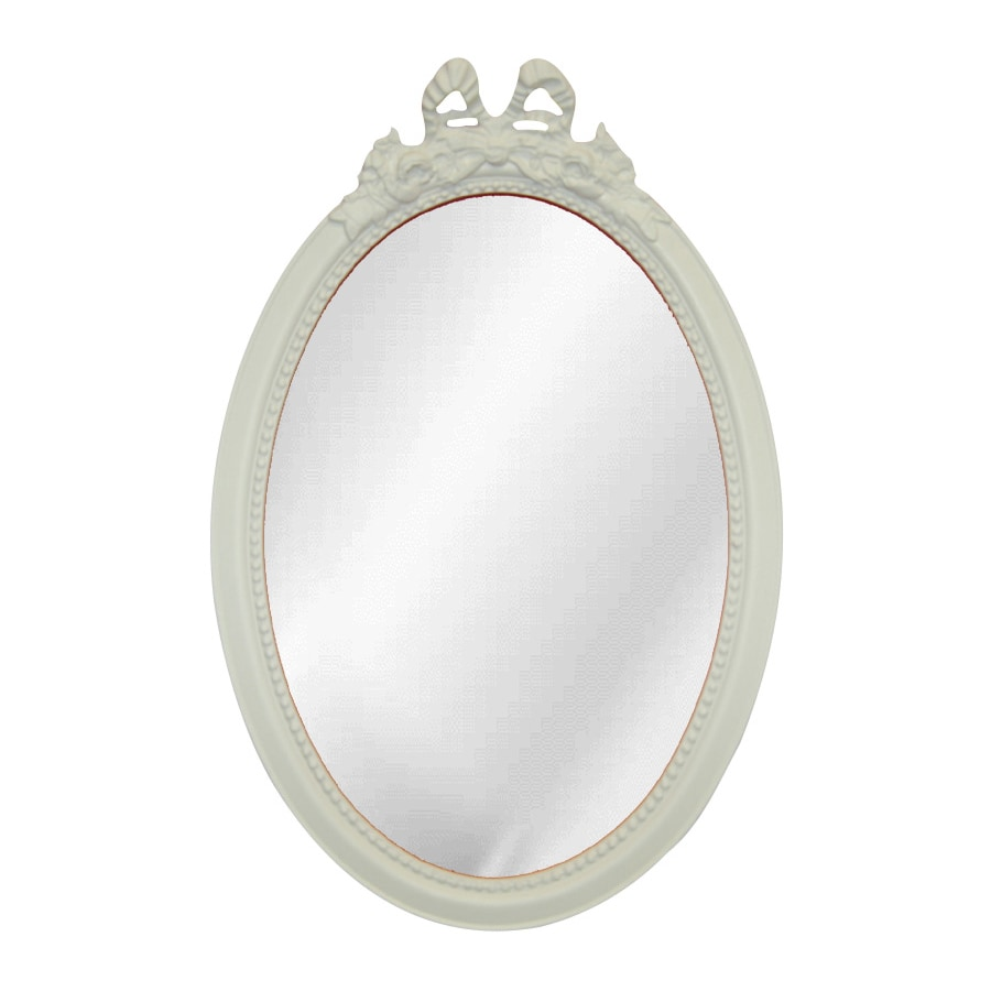 Hickory Manor House Beaded Bow Bright White Beveled Oval Wall Mirror