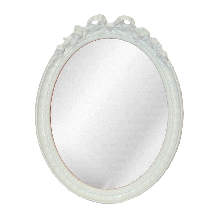 Hickory Manor House Bow 9.5-in x 12-in Bright White Polished Oval Framed Wall Mirror
