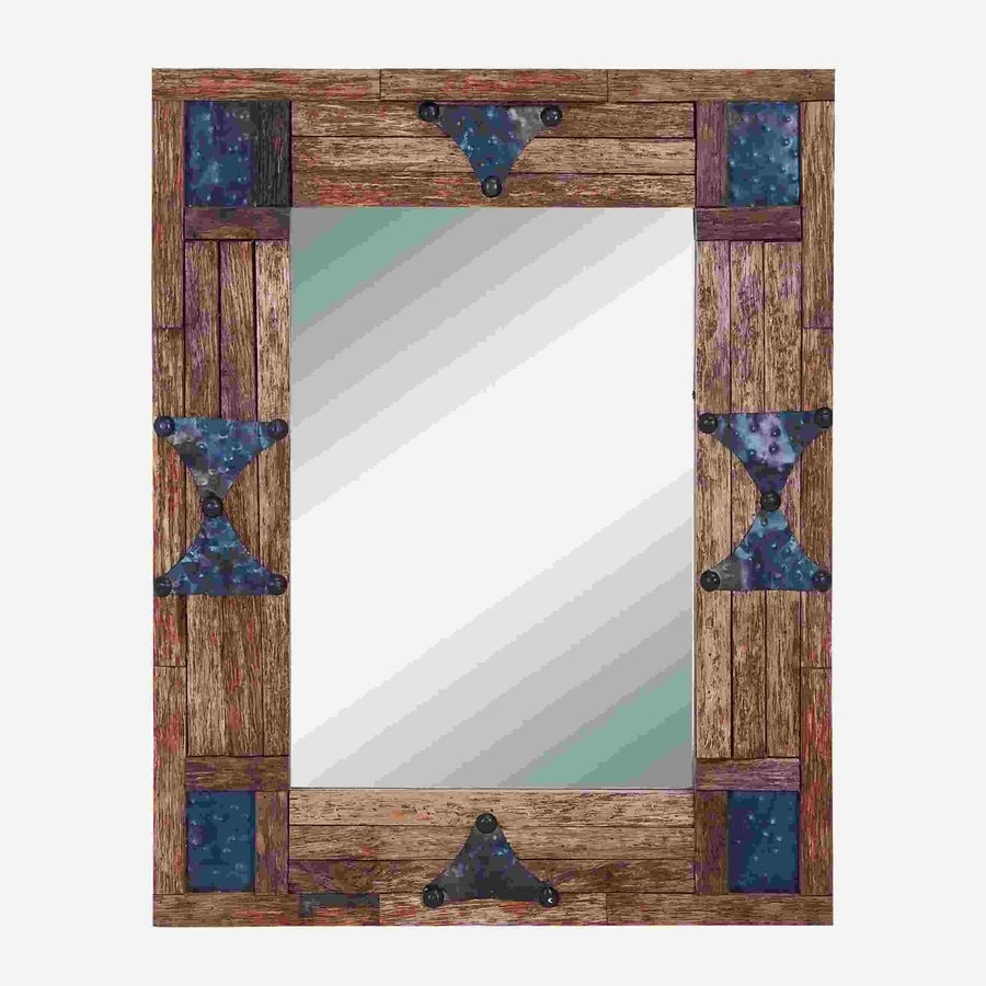 Woodland Imports Classy Wood Brown/Dark Blue Beveled Wall Mirror