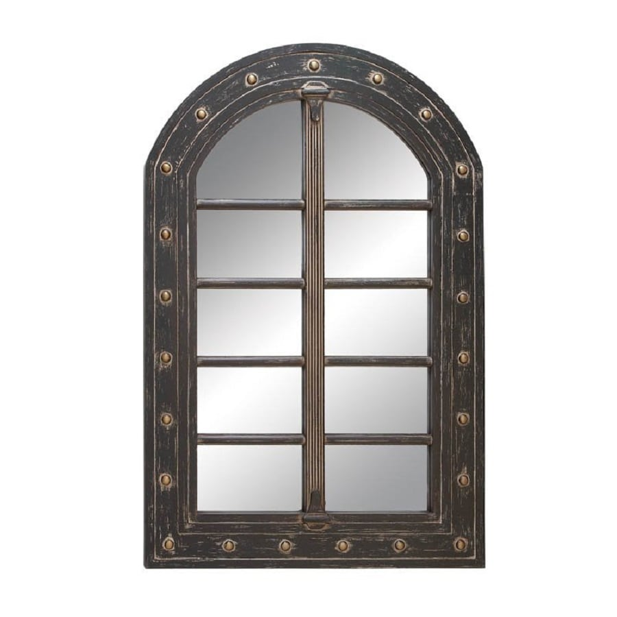32 X 48 Mirror Part - 27: Woodland Imports 32-in X 48-in Dark Gray Beveled Arch Framed Wall Mirror