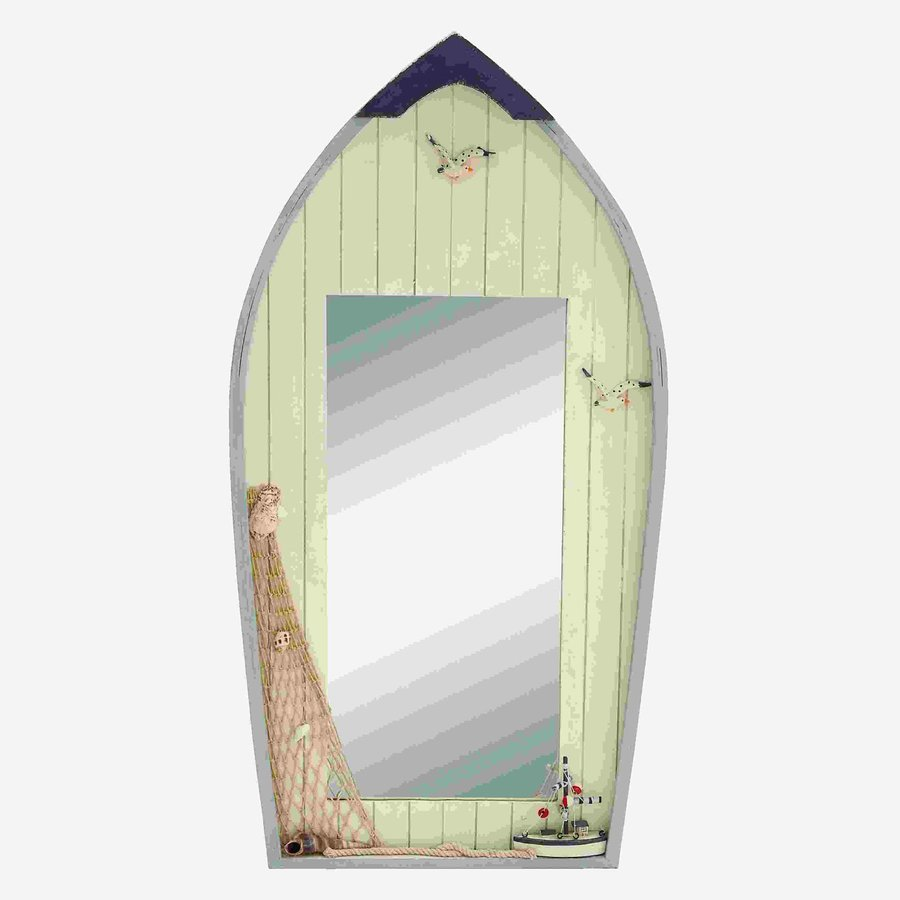 Woodland Imports Seaside Nautical Row Boat Off-White/Blue Beveled Arch Wall Mirror