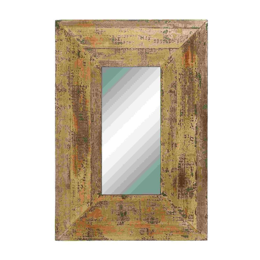Woodland Imports Looking Glass Light Brown Beveled Wall Mirror