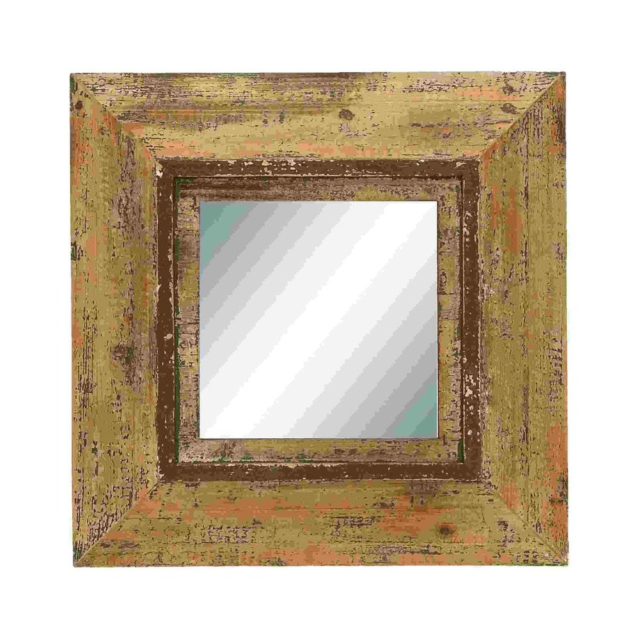 Woodland Imports Looking Glass Light Brown Beveled Square Wall Mirror