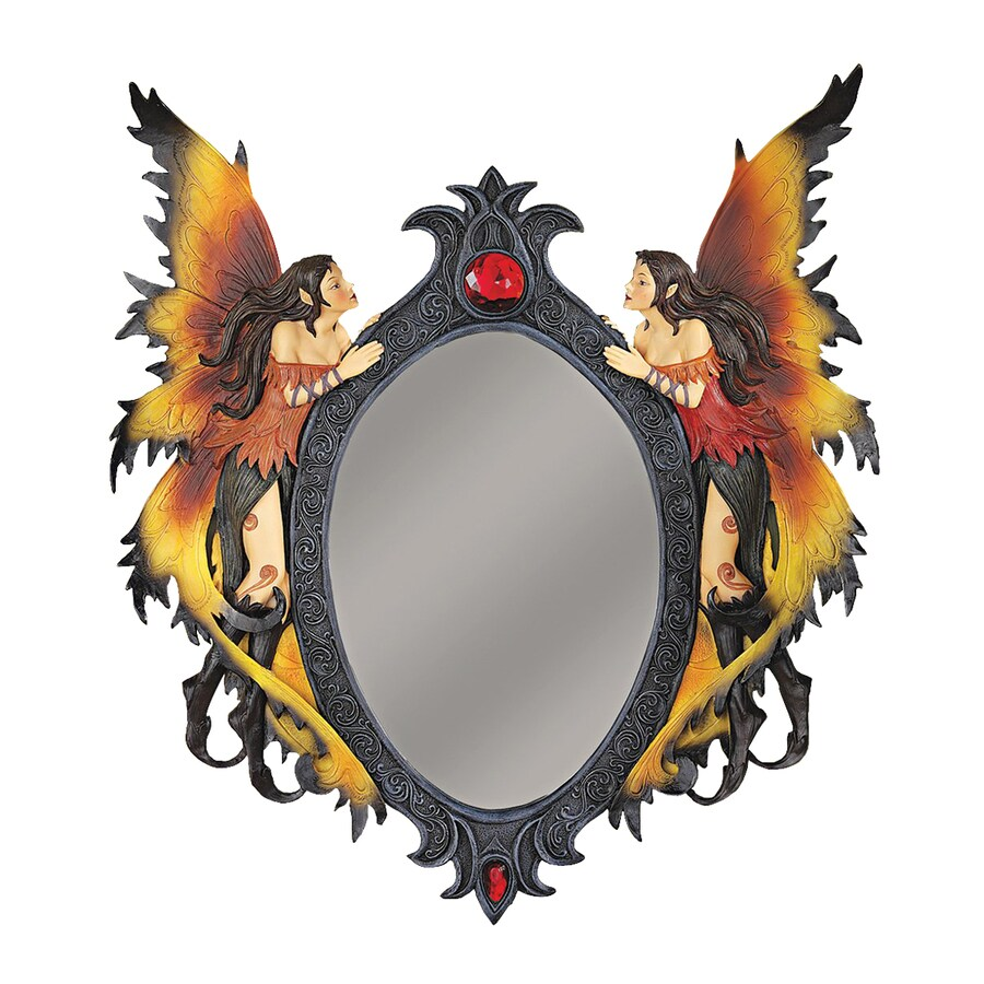 Design Toscano Twin Fairies Multicolored Polished Oval Wall Mirror