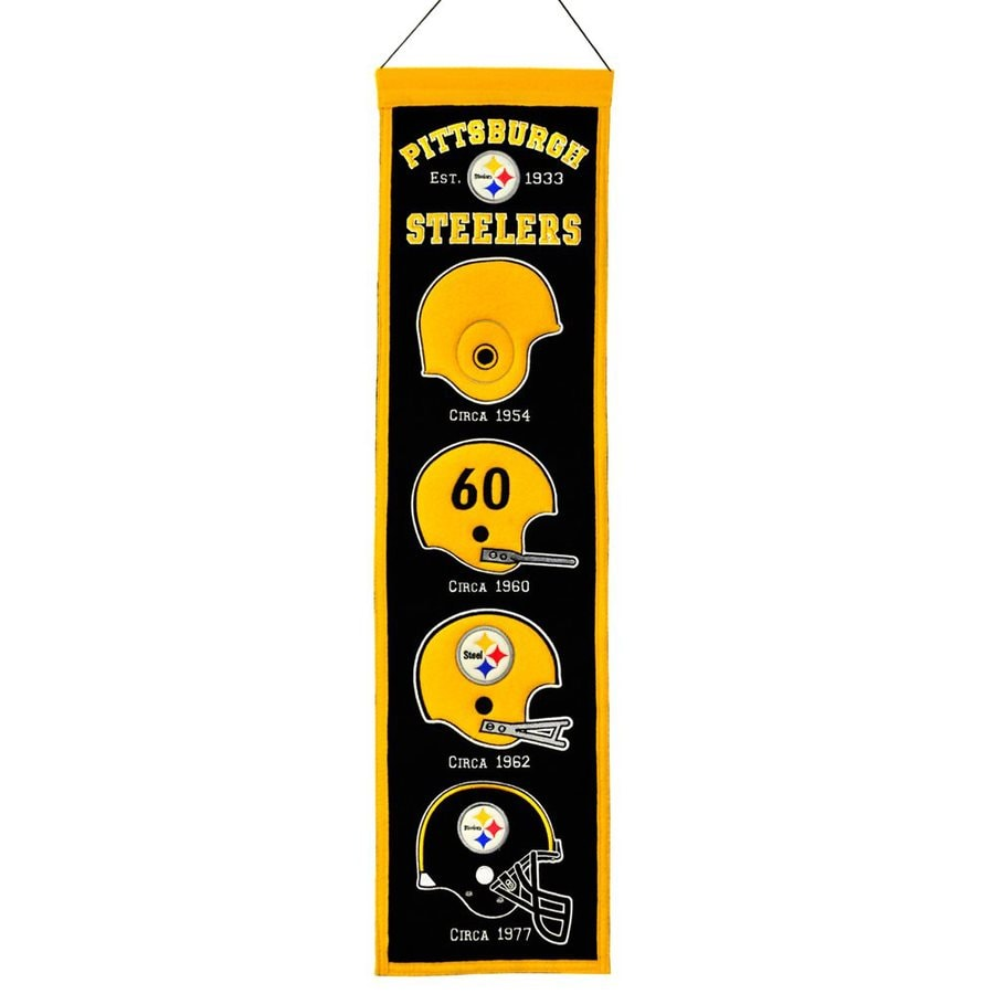Winning Streak 2.67-ft W x 0.67-ft H Embroidered Pittsburgh Steelers Banner