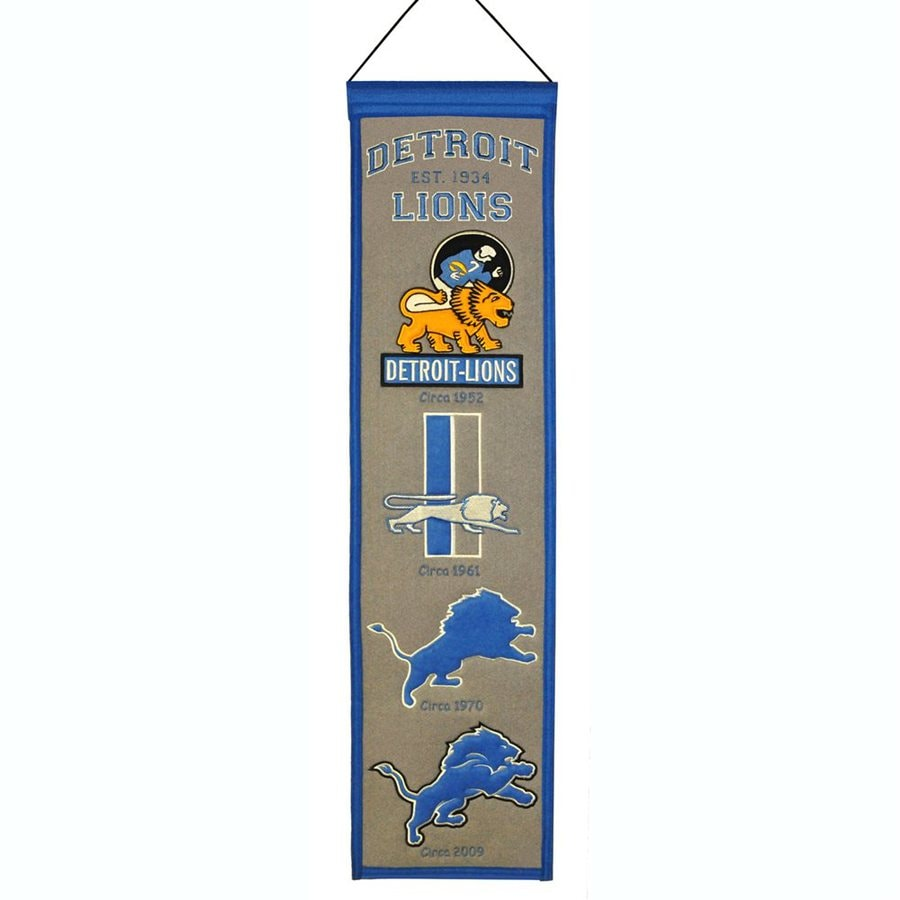 Winning Streak 2.67-ft W x 0.67-ft H Embroidered Detroit Lions Banner