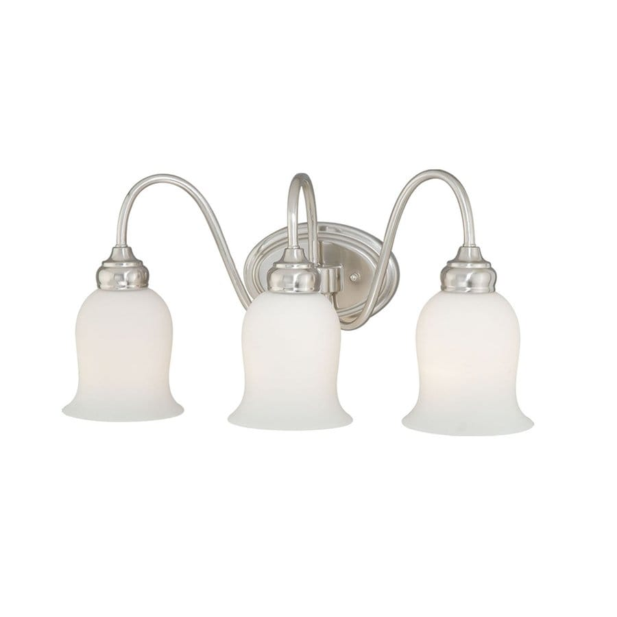 Cascadia Lighting Snowdrop 3-Light 10.625-in Satin Nickel Bell Vanity Light