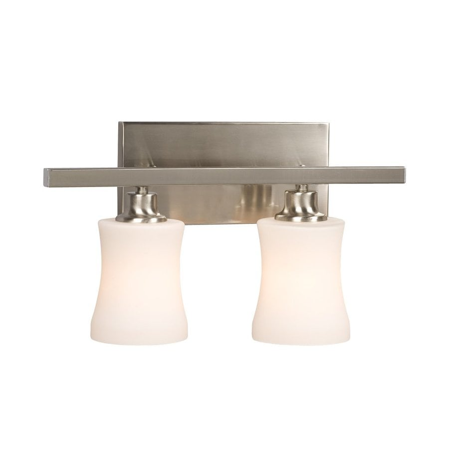 delta bathroom lighting shop galaxy delta 2 light 16 25 in brushed nickel bell 12655
