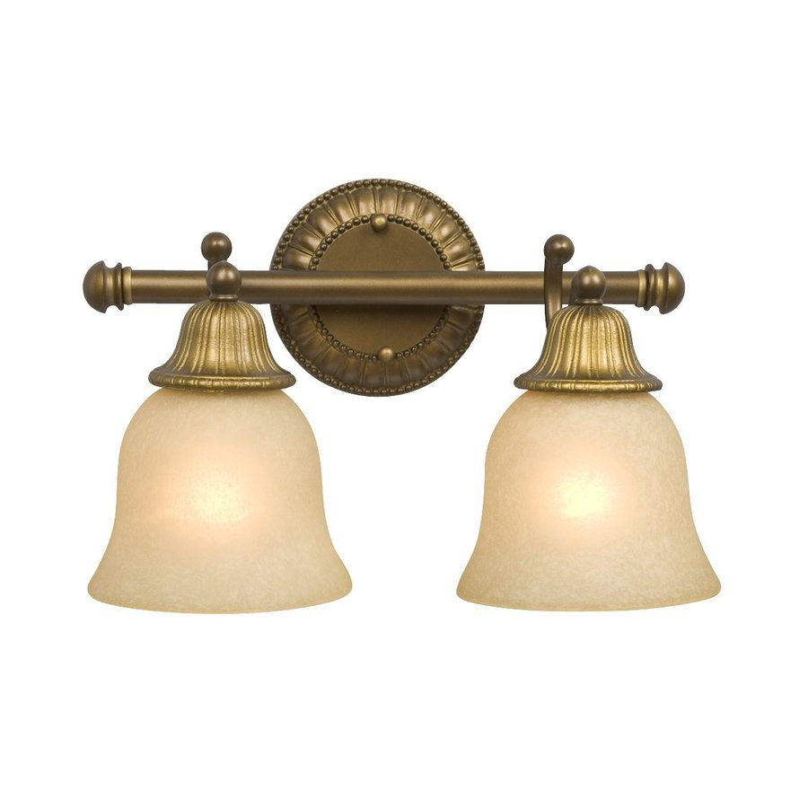 Galaxy 2-Light Brymor Parisian-Antique Brass Standard Bathroom Vanity Light - Shop Galaxy 2-Light Brymor Parisian-Antique Brass Standard Bathroom