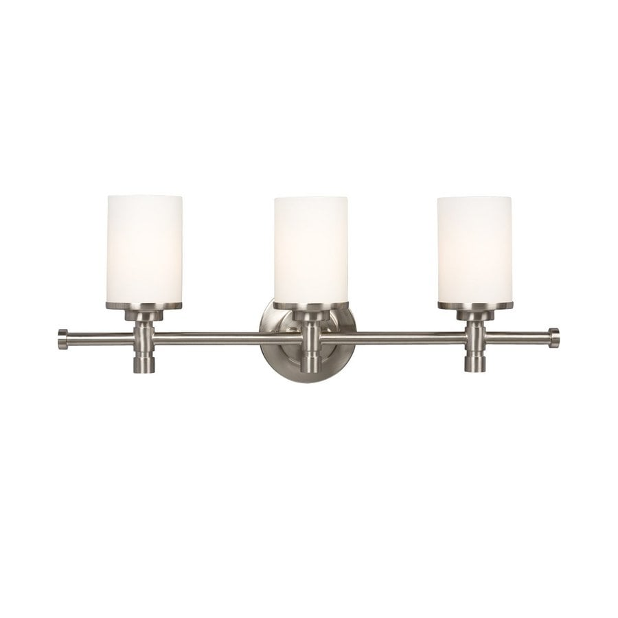 Vanity Light Refresh Kit 3 Bulb : Shop Galaxy Brighton 3-Light 9.25-in Brushed nickel Cylinder Vanity Light at Lowes.com