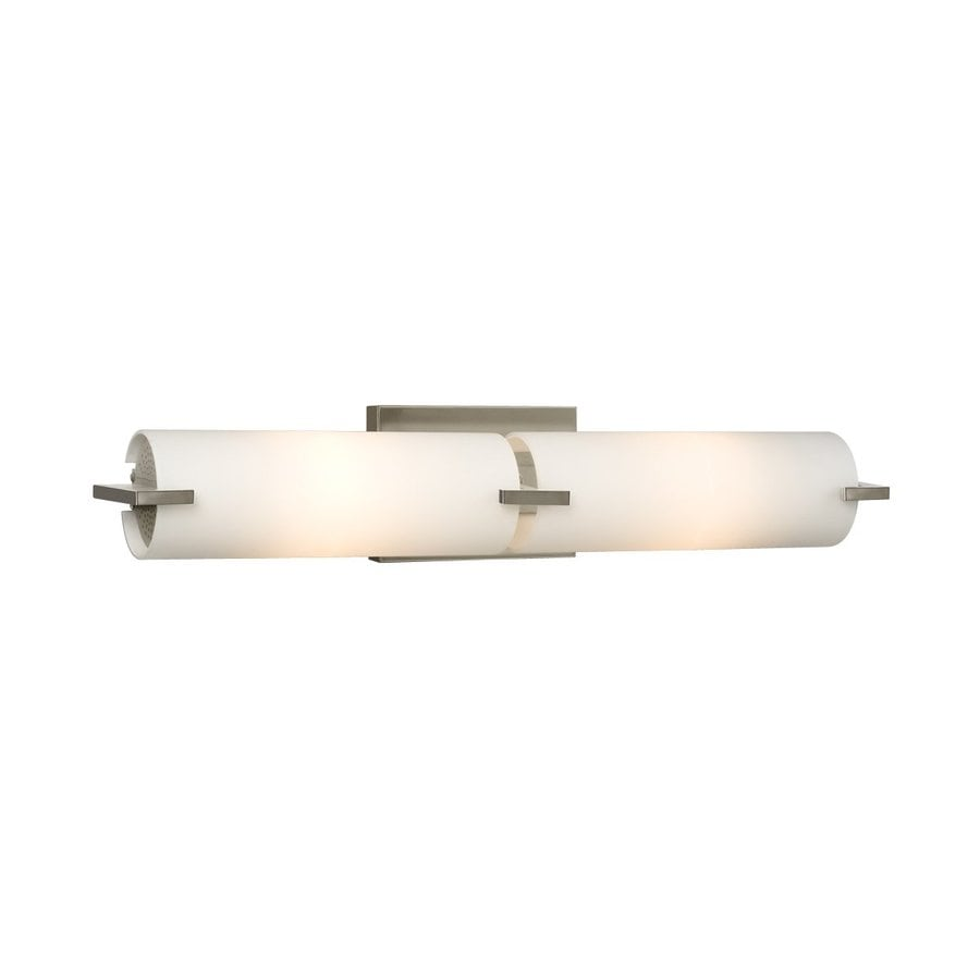 Replace Vanity Light Bar With Two Lights : Shop Galaxy Kona 2-Light 4.25-in Brushed Nickel Cylinder Vanity Light Bar at Lowes.com