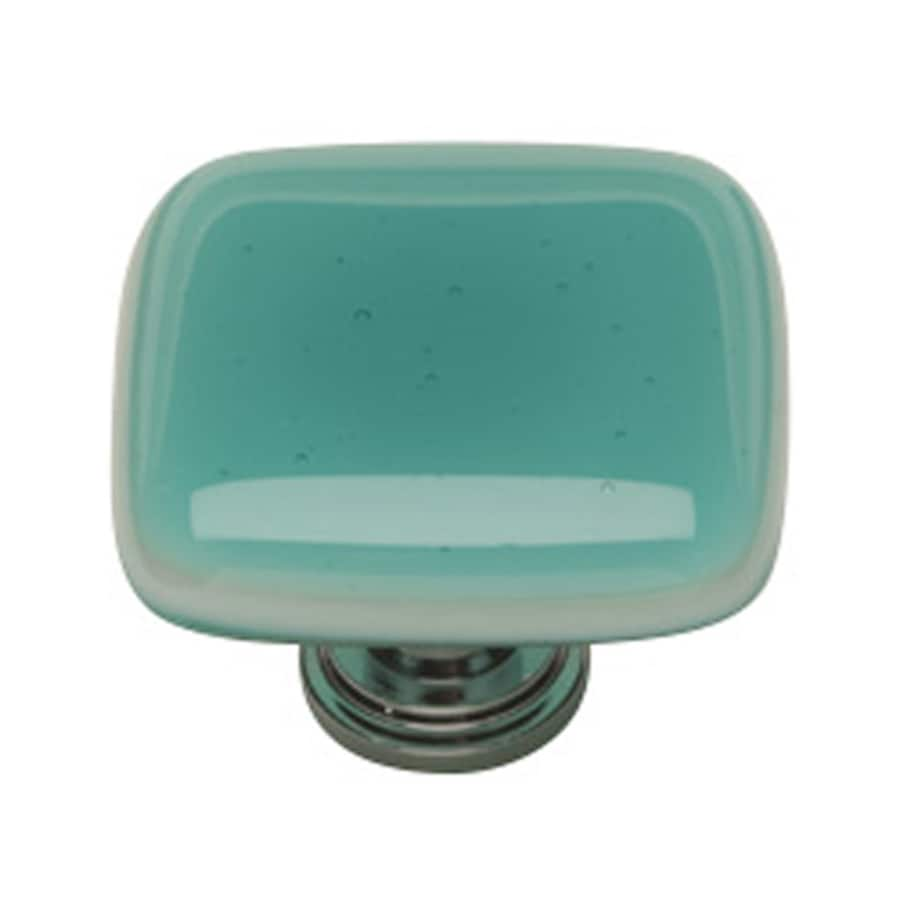 Sietto Intrinsic Aqua/Polished Chrome Square Cabinet Knob