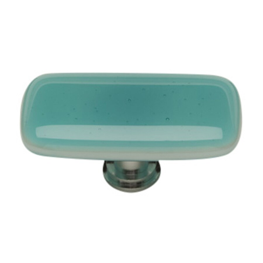 Sietto Intrinsic Aqua/Satin Nickel Rectangular Cabinet Knob