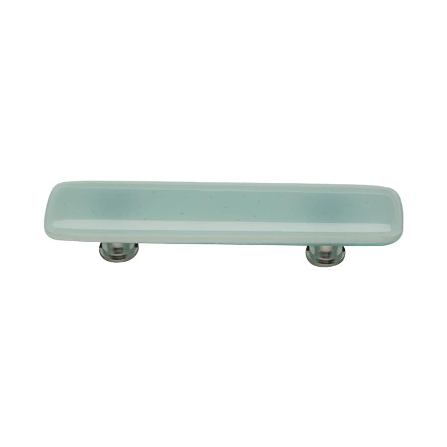 Sietto 3-in Center-To-Center Light Aqua/Polished Chrome Intrinsic Rectangular Cabinet Pull