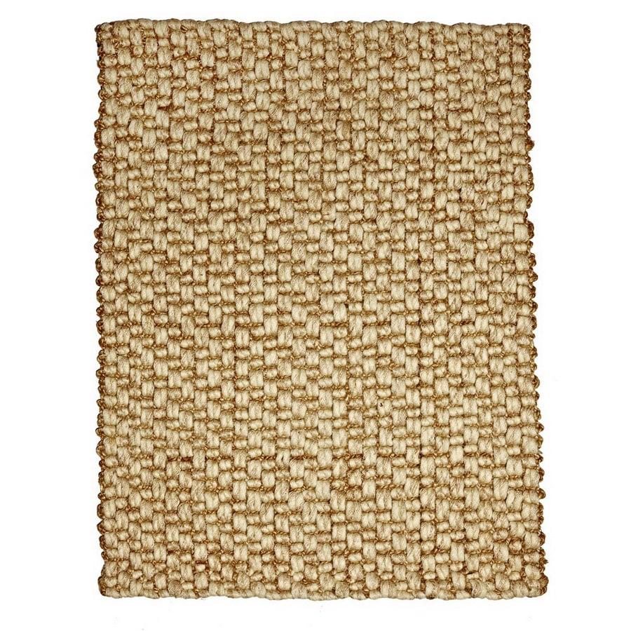 Anji Mountain Wool/Jute 96-in x 120-in Rectangular Beige Solid Area Rug
