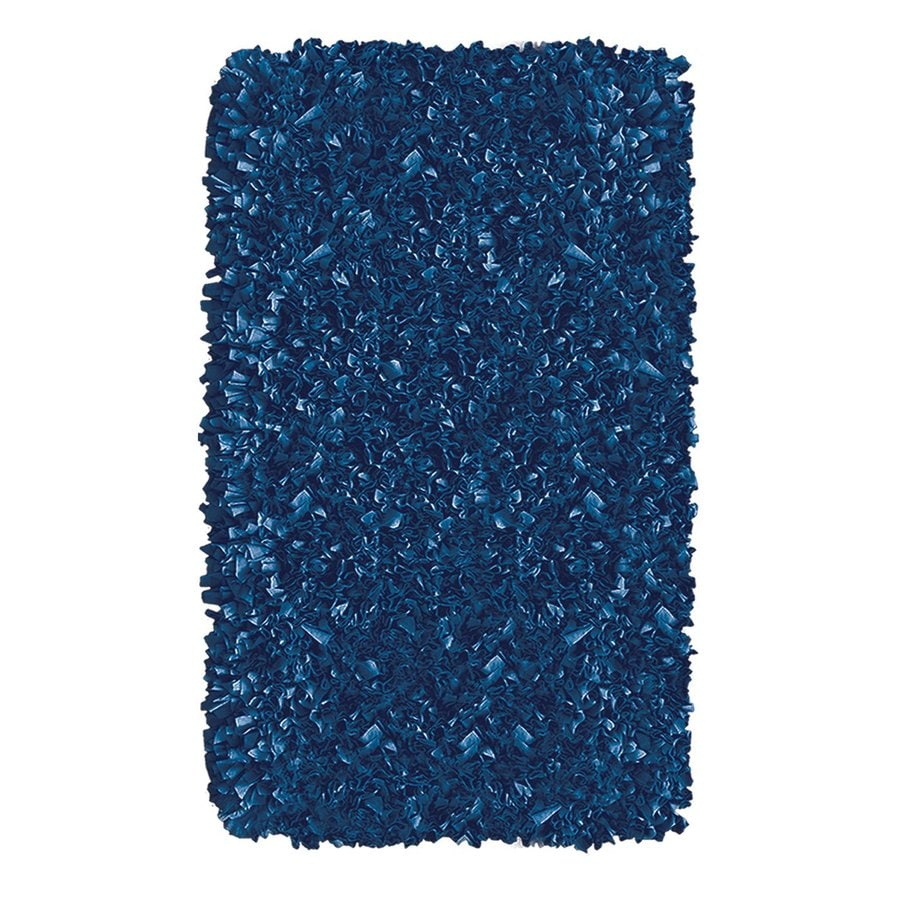 The Rug Market Shaggy Raggy Dark Blue Rectangular Indoor Shag Throw Rug (Common: 2 x 3; Actual: 1.83-ft W x 2.83-ft L)