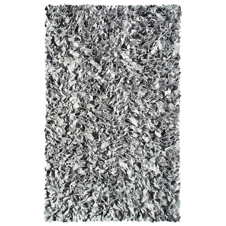 The Rug Market Shaggy Raggy Silver Rectangular Indoor Shag Throw Rug (Common: 2 x 3; Actual: 1.83-ft W x 2.83-ft L)