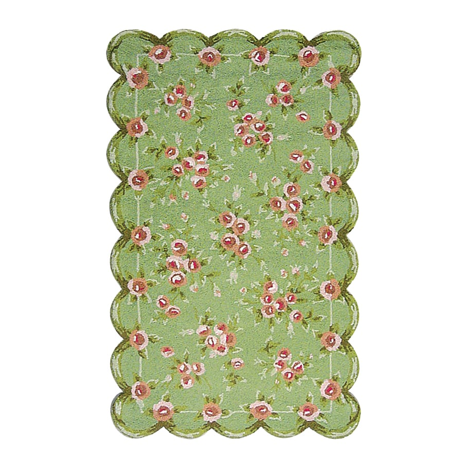 The Rug Market Emily Green Rectangular Indoor Nature Throw Rug (Common: 3 x 5; Actual: 2.67-ft W x 4.67-ft L)