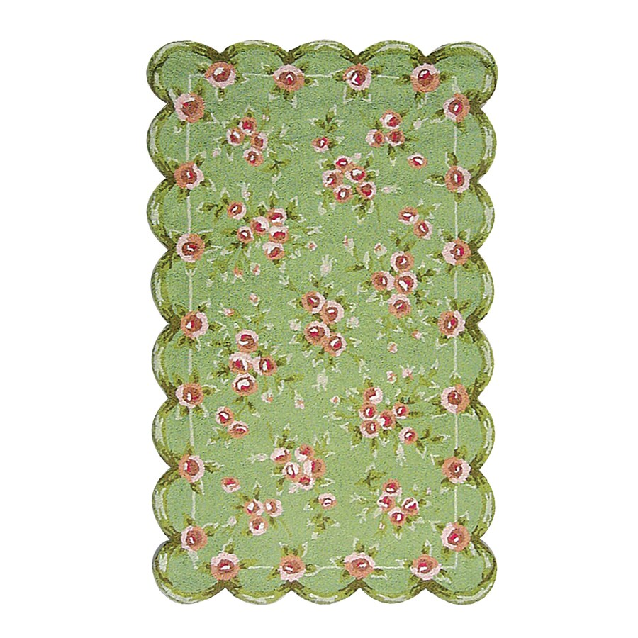The Rug Market Emily Green Rectangular Indoor Nature Area Rug (Common: 5 x 8; Actual: 4.58-ft W x 7.58-ft L)