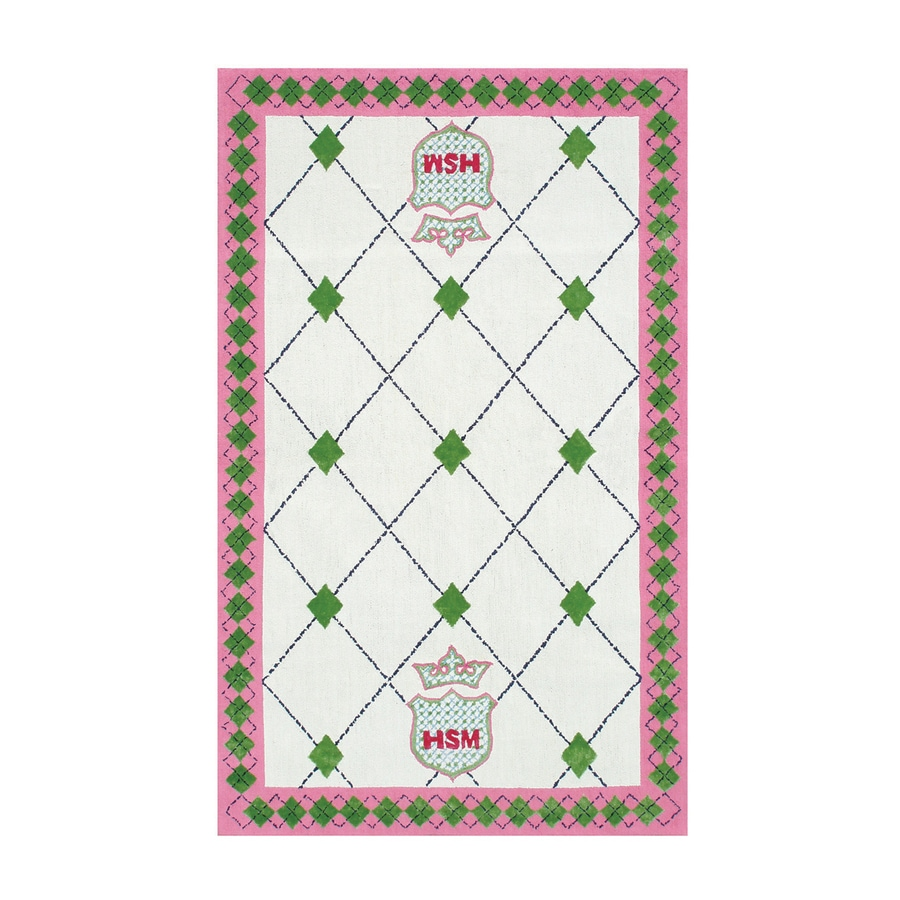 The Rug Market High School Musical White/Green/Pink Rectangular Indoor Hooked Kids Area Rug (Common: 5 x 8; Actual: 55-in W x 91-in L)