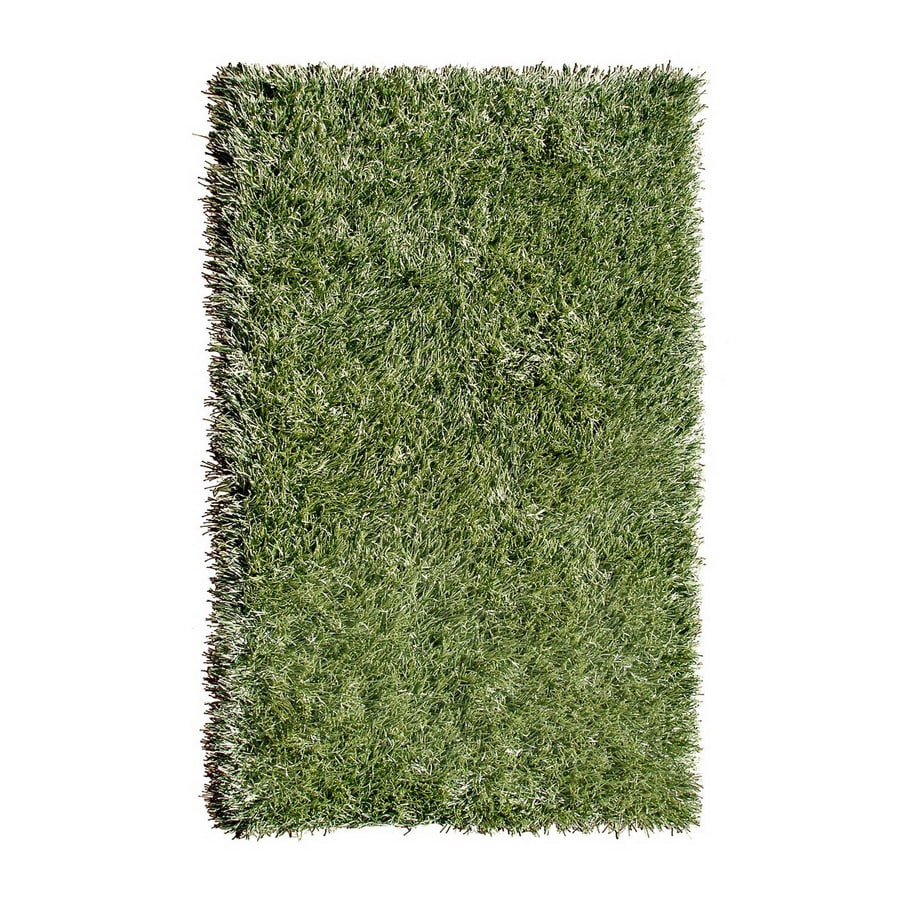 The Rug Market Resort Rectangular Green Solid Area Rug (Common: 5-ft x 8-ft; Actual: 5-ft x 8-ft)