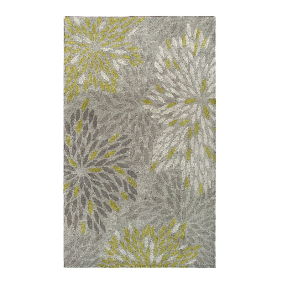 The Rug Market Camden Gray/Ivory/Green Rectangular Indoor Tufted Nature Area Rug (Common: 5 x 8; Actual: 5-ft W x 8-ft L)