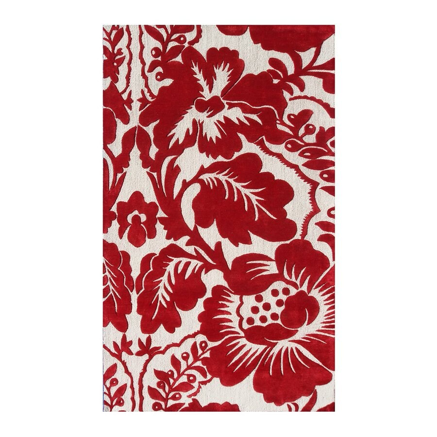 The Rug Market Rexford Red Rectangular Indoor Tufted Nature Area Rug (Common: 5 x 8; Actual: 5-ft W x 8-ft L)